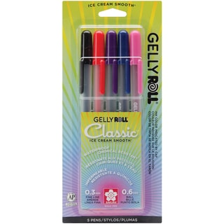 Gelly Roll Fine Point Pens 5/PkgRoyal Blue, Red, Purple, Black & Pink