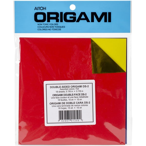 Origami Paper 5.875inX5.875in 18 SheetsAssorted Colors DoubleSided Foil