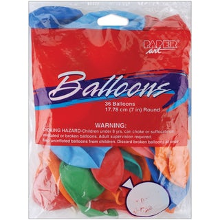 Balloons Round 7in 36/PkgAssorted Colors