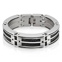 Crucible Stainless Steel Black Cable Inlay Link Bracelet