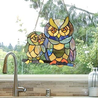 River of Goods 11-inch Tiffany Style Stained Glass Friendly Owls Window Panel - M
