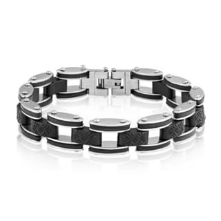 Crucible Stainless Steel Brushed Rubber Accents Link Bracelet