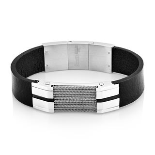 Crucible Stainless Steel Cable Inlay Black Leather ID Bracelet