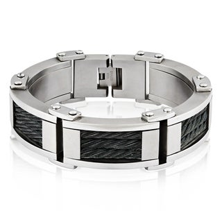 Crucible Stainless Steel Cable Inlay Link Bracelet