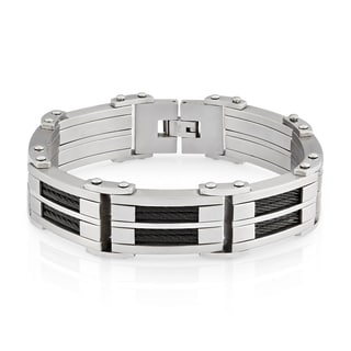 Crucible Men's Stainless Steel Dual Finish Cable Inlay Link Bracelet