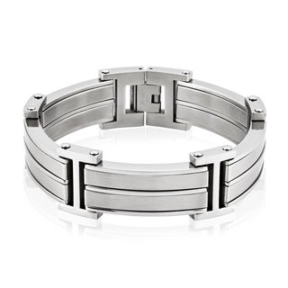 Crucible Stainless Steel Dual Finish Link Bracelet