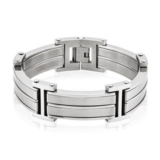 Crucible Men's Stainless Steel Dual Finish Link Bracelet
