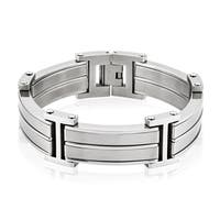 Crucible Men's Stainless Steel Dual Finish Link Bracelet - 8.5 inches