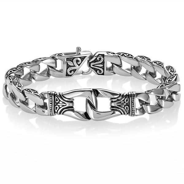 Crucible Fleur-de-lis Stainless Steel Curb Chain Bracelet - Silver. Opens flyout.