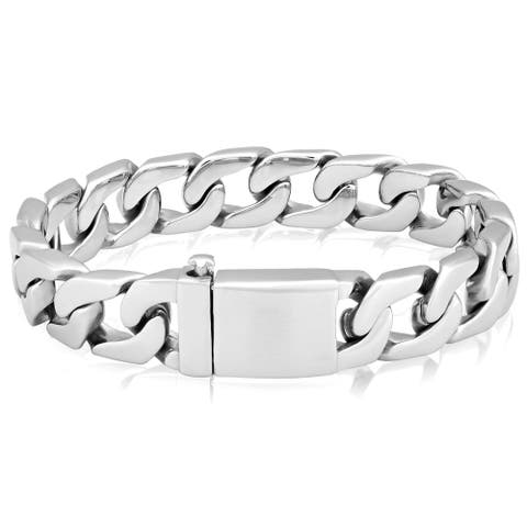 Men's Stainless Steel Polished Box Clasp Curb Chain Bracelet