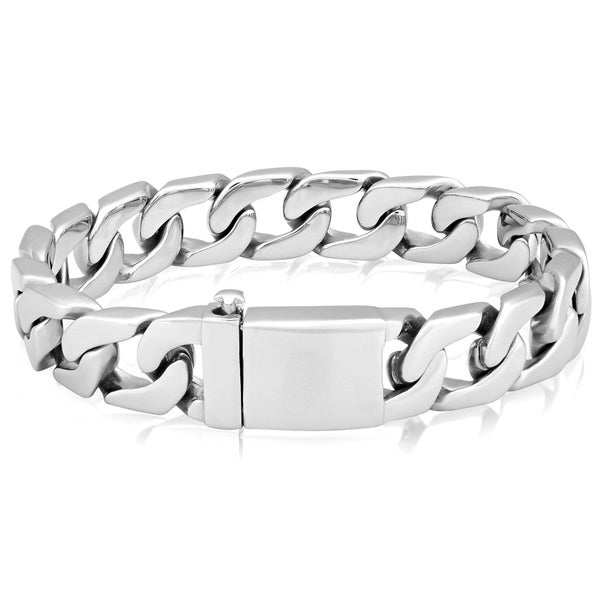 Crucible Stainless Steel Polished Box Clasp Curb Chain Bracelet