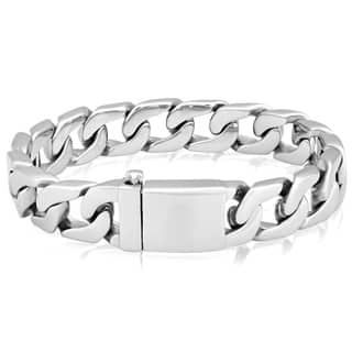 Crucible Stainless Steel Polished Box Clasp Curb Chain Bracelet|https://ak1.ostkcdn.com/images/products/10569828/P17646882.jpg?impolicy=medium
