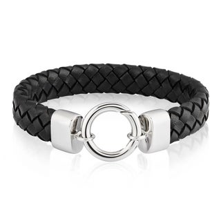 Crucible Stainless Steel Spring Ring Black Braided Leather Bracelet