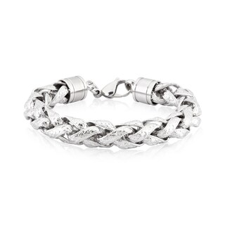 Crucible Stainless Steel Textured Rolo Chain Link Bracelet
