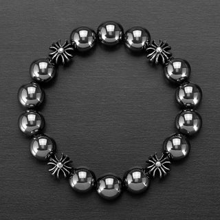 Crucible Stainless Steel and Hematite Beaded Stretch Bracelet