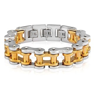 Crucible Men's Two-tone Stainless Steel Bicycle Chain Link Bracelet