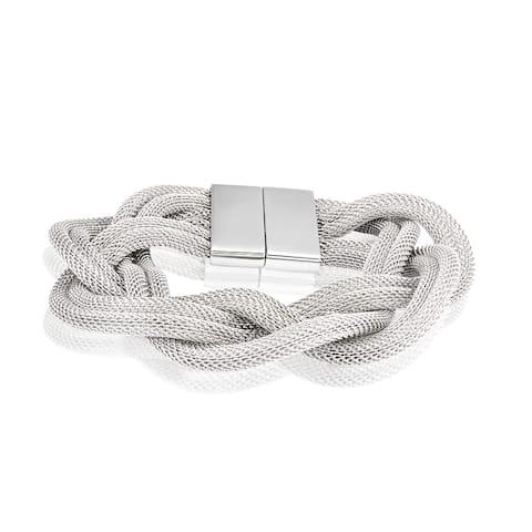 ELYA Stainless Steel Braided Mesh Bracelet - Silver