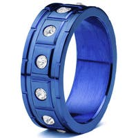 Men's Blueplated Stainless Steel Square Grooved with Cubic Zirconia Ring - Blue