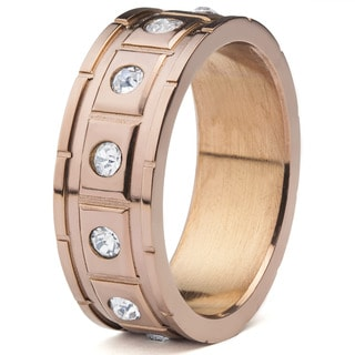 Men's Coffeeplated Stainless Steel Square Grooved with Cubic Zirconia Ring