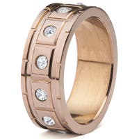 Men's Coffeeplated Stainless Steel Square Grooved with Cubic Zirconia Ring - White