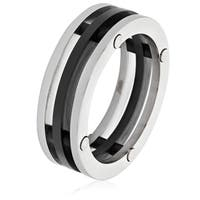 Men's Stainless Steel Black Plated Three Band Ring (7.5 mm) - White