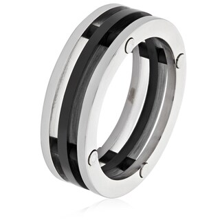 Men's Stainless Steel Blackplated Three Band Ring (7.5 mm) - Black