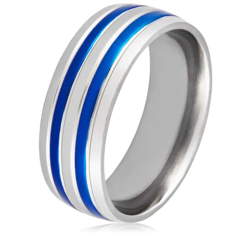 Titanium and Blue Plated Grooved Band Ring (6 to 8 mm) - White