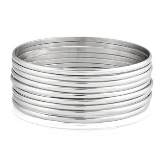 Women's Stainless Steel 9-Piece Stackable Bangle Bracelets - Silver
