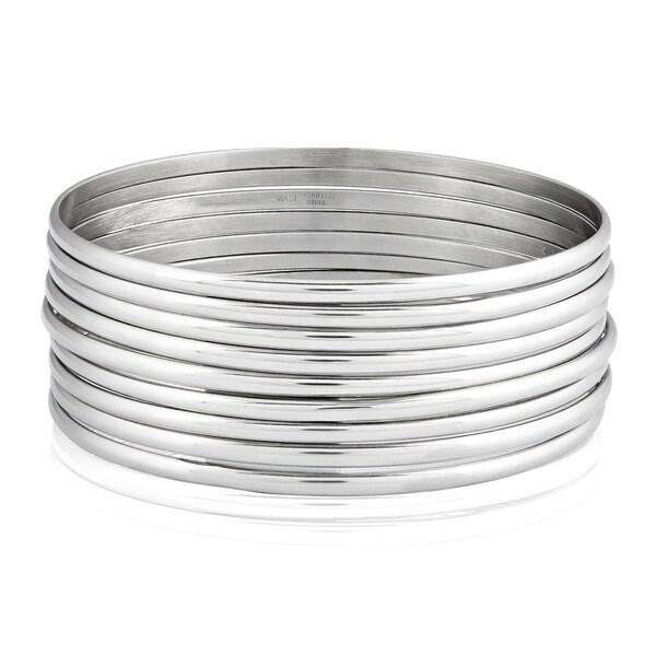 Women's Stainless Steel 9-Piece Stackable Bangle Bracelets. Opens flyout.