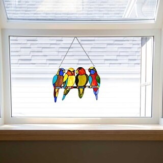 "10.5"" H Stained Glass Tropical Birds Window Panel - M"