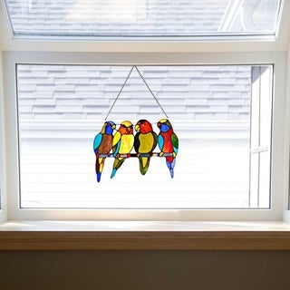 "10.5"" H Stained Glass Tropical Birds Window Panel"