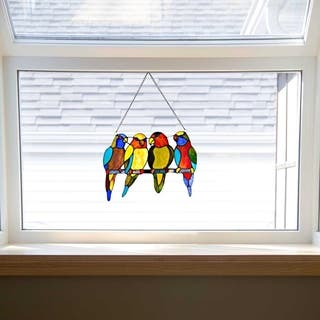 """10.5"""" H Stained Glass Tropical Birds Window Panel - M"""