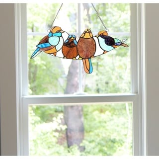River of Goods 8-inch Tiffany Style Stained Glass Song Bird Window Panel