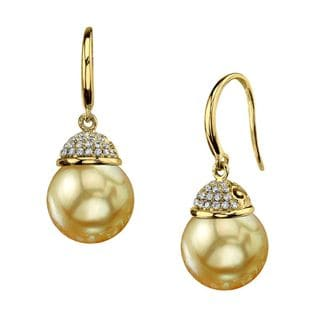 Radiance Pearl 18k Yellow Gold Golden South Sea Pearl and Diamond Accent Earrings