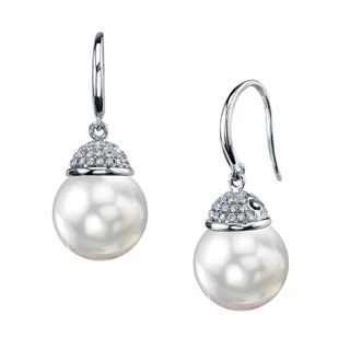 Radiance Pearl 18k Gold White South Sea Pearl Diamond Accent Earrings