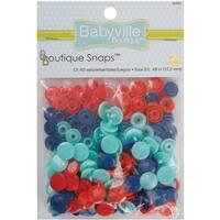 Babyville Boutique Snaps Size 20 60/PkgSolid  Red, Blue & Light Blue