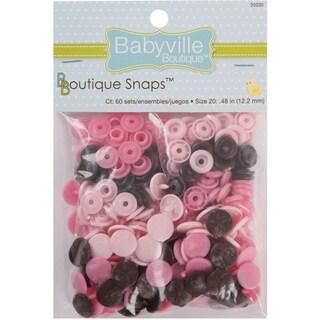 Babyville Boutique Snaps Size 20 60/PkgMod Girl Flowers Brown/Pink/Light Pink