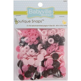 Babyville Boutique Snaps Size 20 60/PkgMod Girl Flowers Brown/Pink/Light Pink
