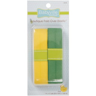 Babyville Boutique FoldOver Elastic 1inX4ydSolid Yellow & Solid Green