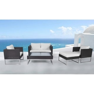 Beliani Outdoor Furniture Creama 5-piece Set in Brown Resin Wicker