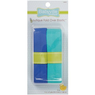Babyville Boutique FoldOver Elastic 1inX4ydSolid Blue & Solid Turquoise