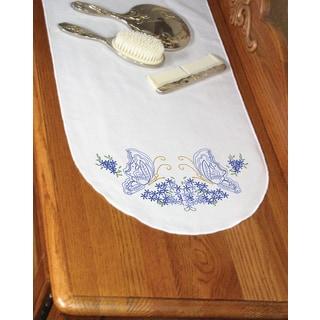 Stamped Perle Edge Dresser Scarf 15inX42inTwin Butterflies