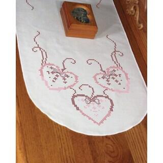 Stamped Perle Edge Dresser Scarf 15inX42inThree Hearts