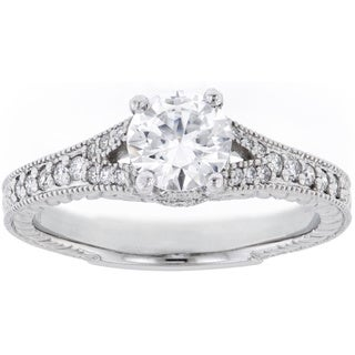 Platinum Engraved 1/4ct TDW Diamond and Cubic Zirconia Semi-mount Engagement Ring