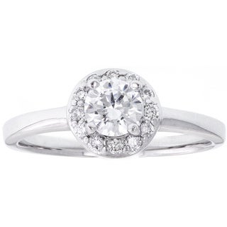 Palladium 1/6ct TDW Diamond and Cubic Zirconia Engagement Ring