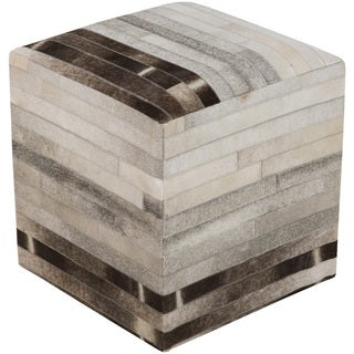 Striped Suez Square Hair On Hide 18-inch Pouf