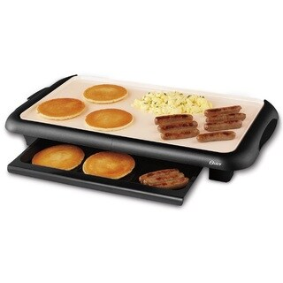 Oster CKSTGRFM18W-ECO Black DuraCeramic Griddle with Warming Tray