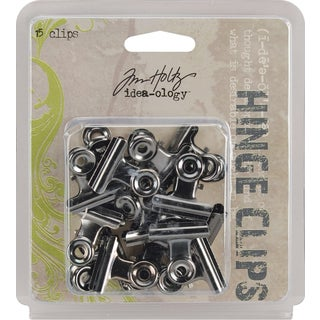 Tim Holtz Idea-Ology Hinge Clips 1in 15/PkgAntique Nickel