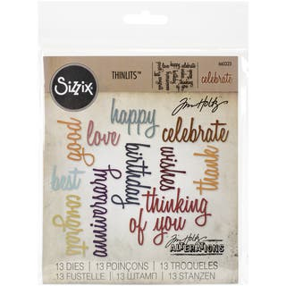 Sizzix Thinlits Dies 13/Pkg By Tim HoltzCelebration Script Words|https://ak1.ostkcdn.com/images/products/10570098/P17647114.jpg?impolicy=medium