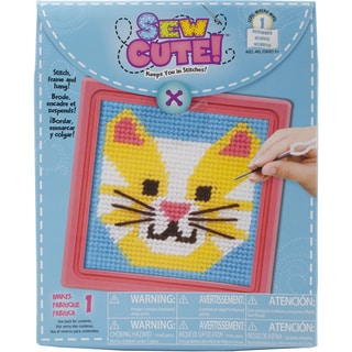Cat Learn To Sew Needlepoint Kit6inX6in Stitched In Yarn